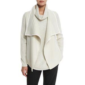 Vince Leather Trim Draped Vest in Winter White